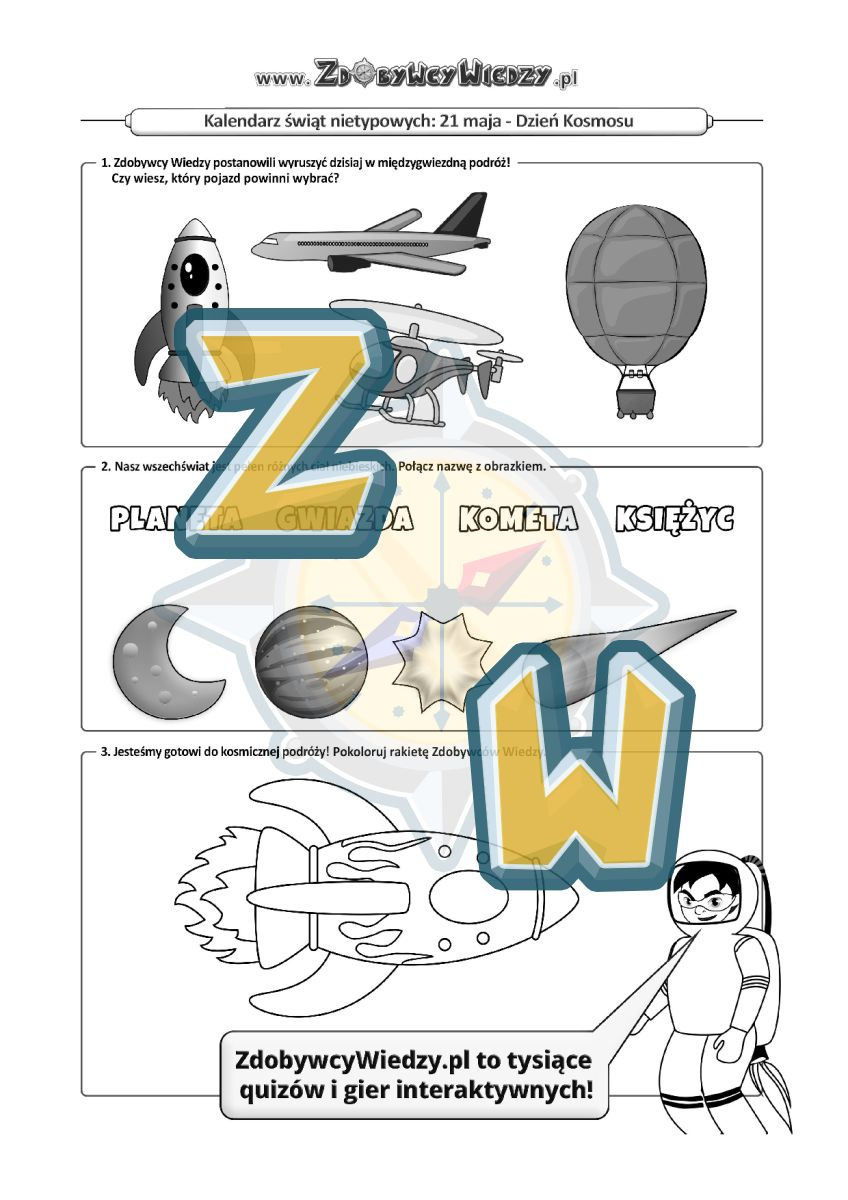 Zdobywcy Wiedzy - karta pracy pdf - Kosmiczne zadania dla dzieci (strona 1)