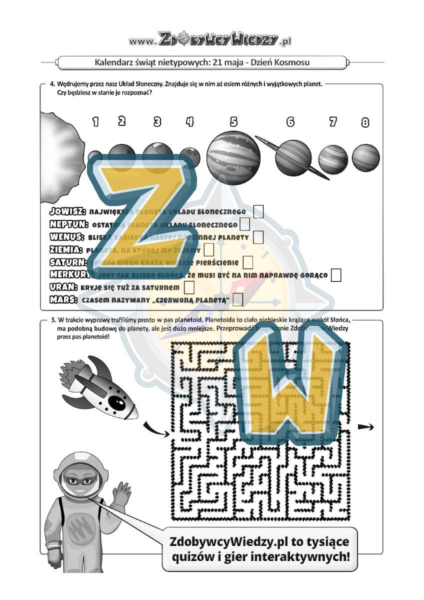 Zdobywcy Wiedzy - karta pracy pdf - Kosmiczne zadania dla dzieci (strona 2)