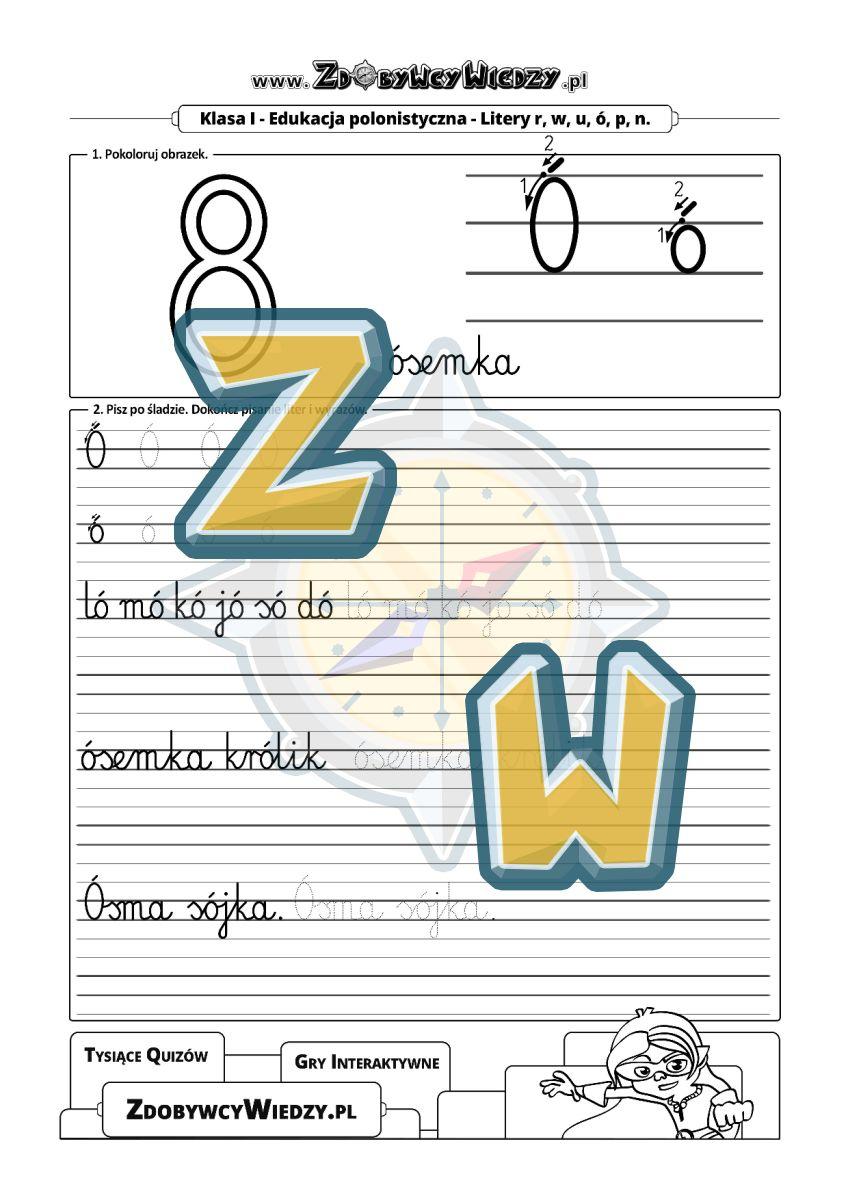 Zdobywcy Wiedzy - karta pracy pdf - Karta pracy służąca do kaligrafii na liniaturze (strona 1)