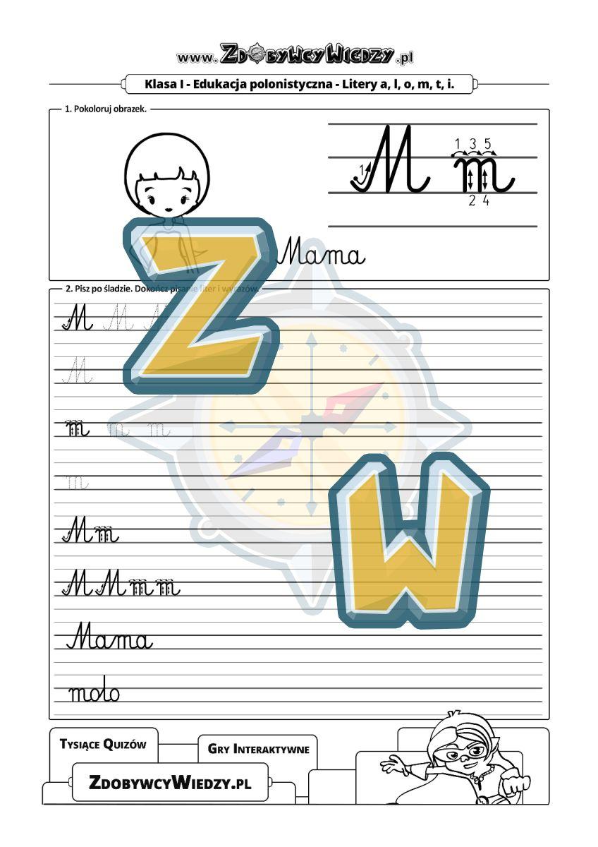 Zdobywcy Wiedzy - karta pracy pdf - Szablon do nauki pisania litery M (strona 1)