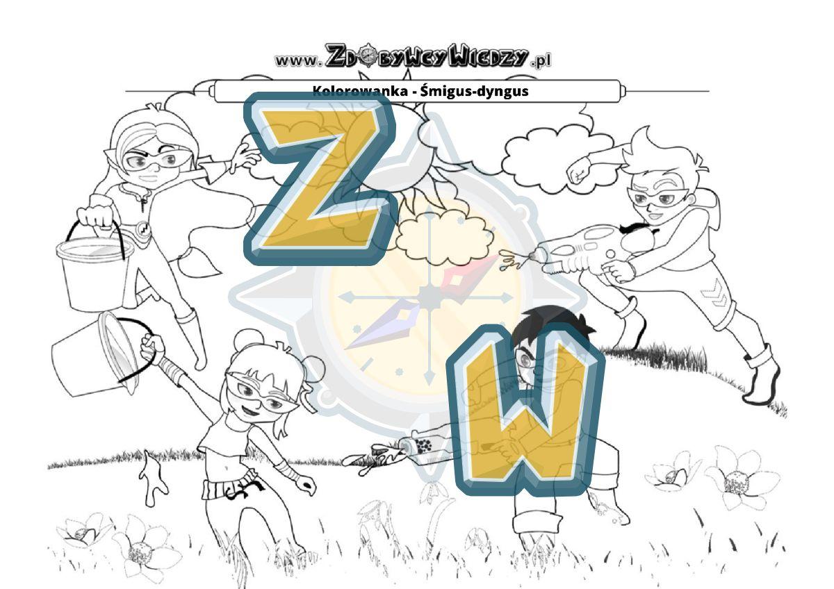Zdobywcy Wiedzy - karta pracy pdf - Pokoloruj superbohaterów w lany poniedziałek! (strona 1)