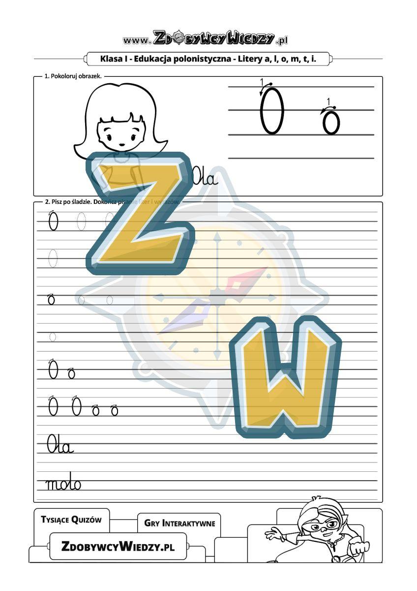 Zdobywcy Wiedzy - karta pracy pdf - Pisanie po śladzie karta pracy z liniaturą (strona 1)