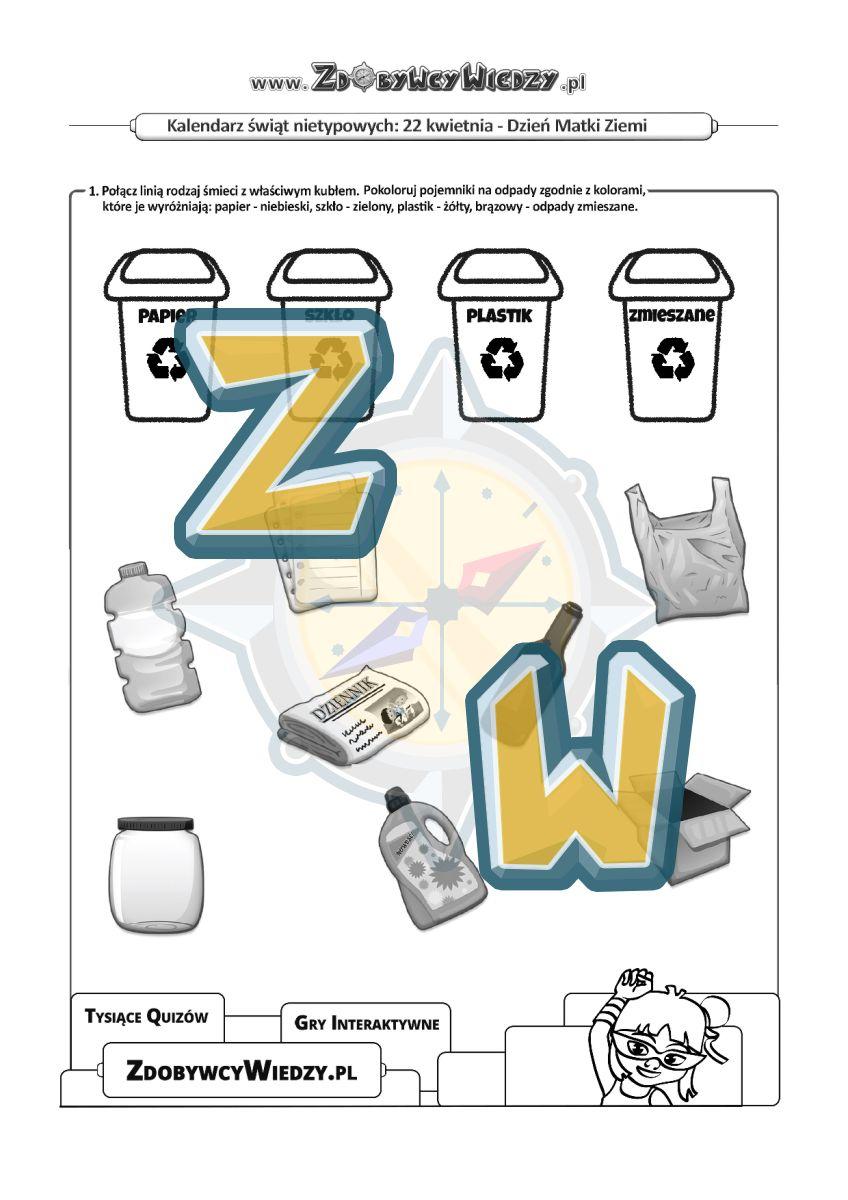 Zdobywcy Wiedzy - karta pracy pdf - Karty pracy - Jak dbać o nasz dom Ziemię! (strona 1)