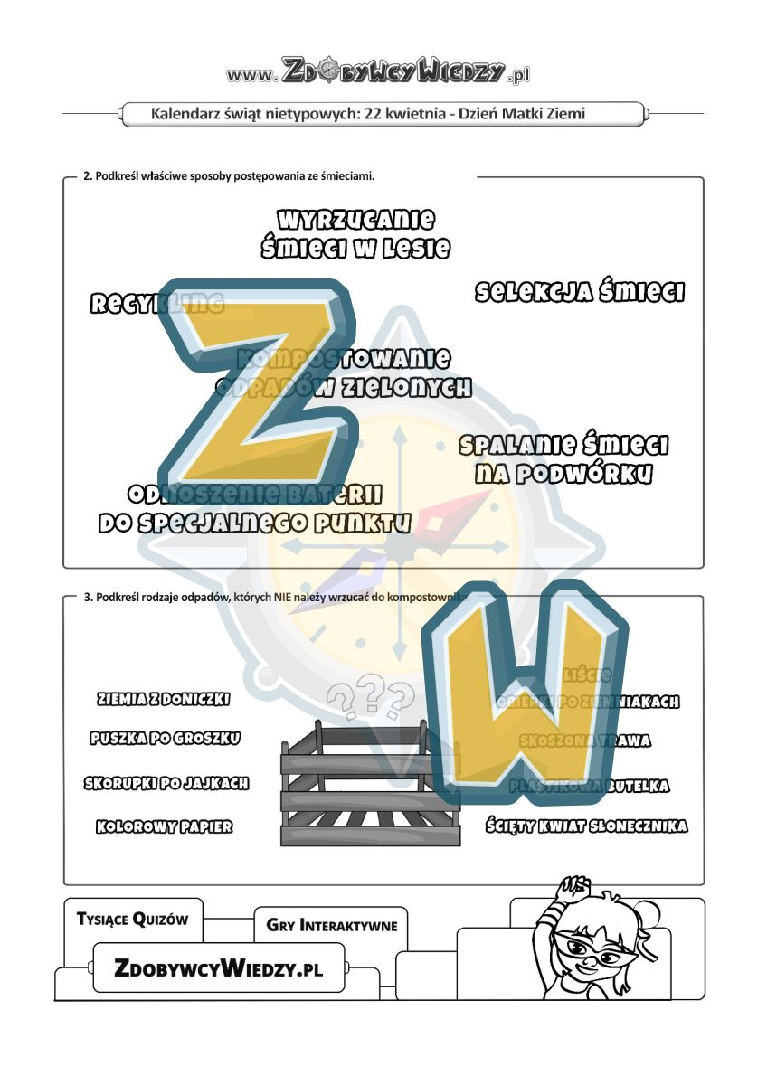 Zdobywcy Wiedzy - karta pracy pdf - Karty pracy - Jak dbać o nasz dom Ziemię! (strona 2)