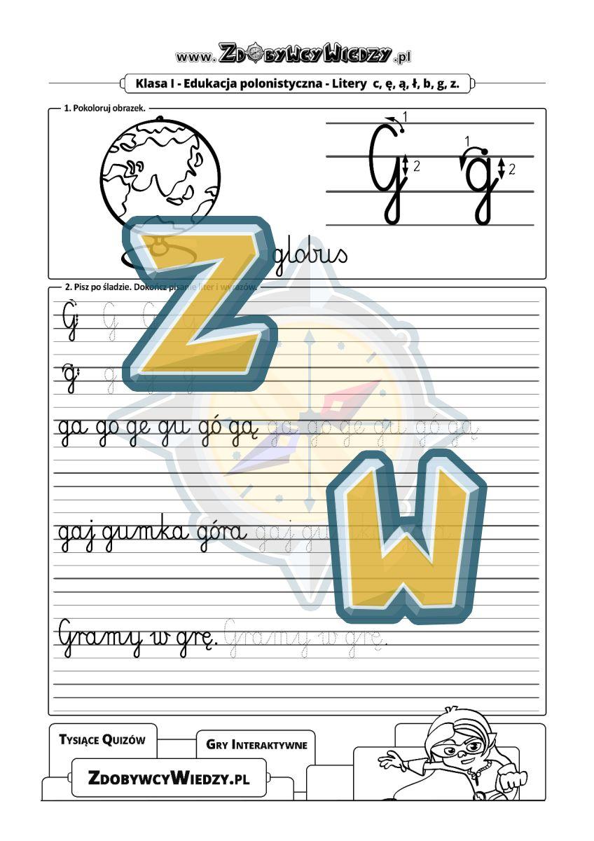Zdobywcy Wiedzy - karta pracy pdf - Jak zwiększyć skuteczność nauki pisania? - litera G (strona 1)