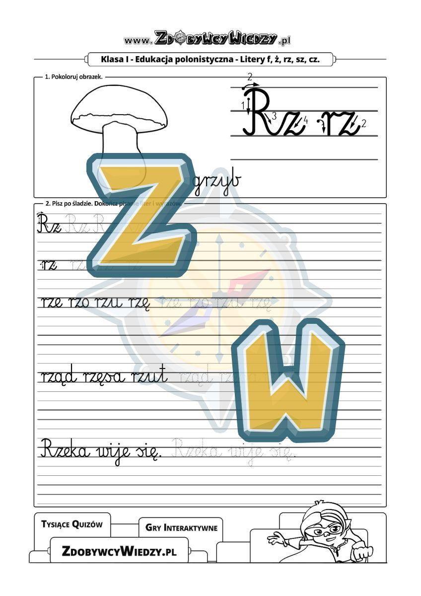 Zdobywcy Wiedzy - karta pracy pdf - Ćwiczenia kaligraficzne do treningu pisania karta pracy (strona 1)