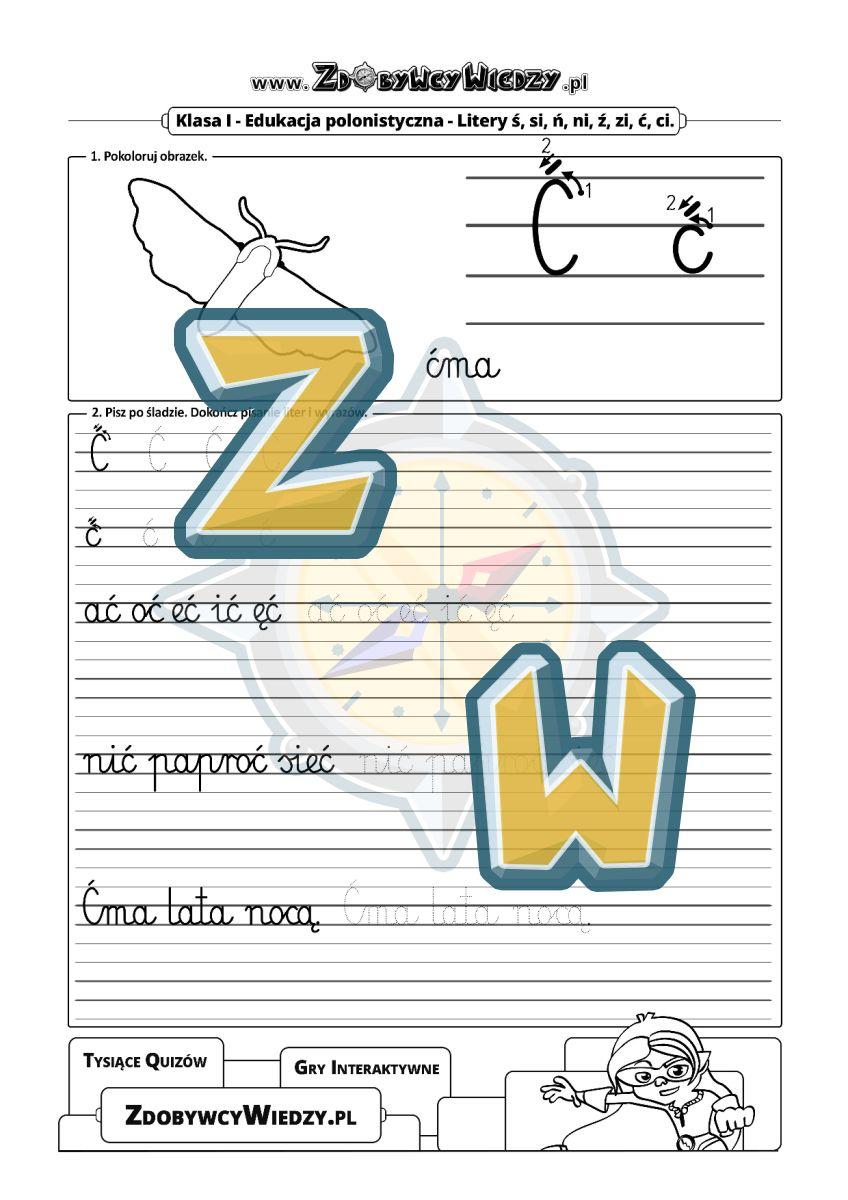 Zdobywcy Wiedzy - karta pracy pdf - Karta pracy pokazująca, jak należy pisać litery (strona 1)