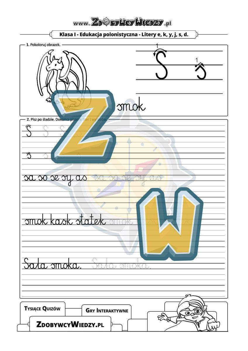Zdobywcy Wiedzy - karta pracy pdf - Czcionka pismo elementarzowe - pisanie litery