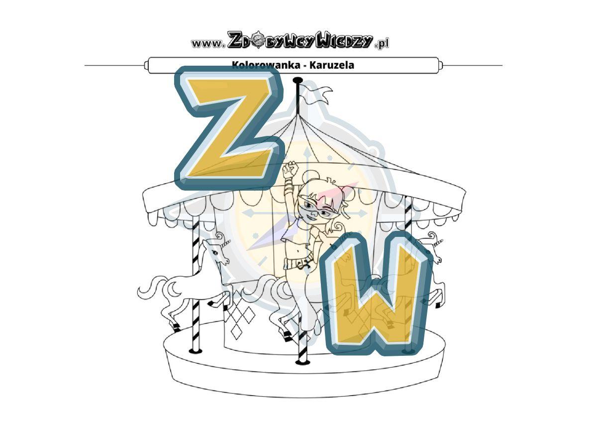 Zdobywcy Wiedzy - karta pracy pdf - Karuzela barw - kolorowanka do wydruku (strona 1)