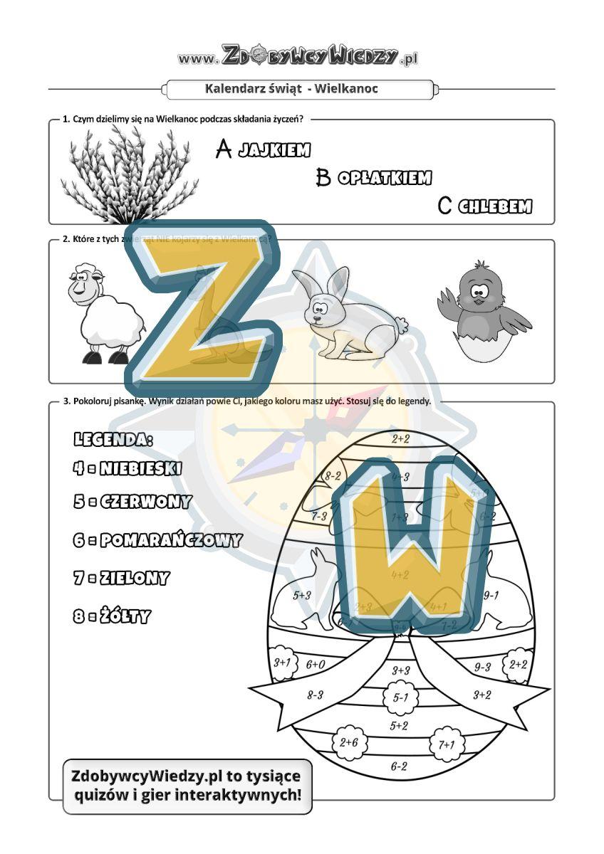 Zdobywcy Wiedzy - karta pracy pdf - Sprawdź na karcie pracy swoją wiedzę o Wielkanocy! (strona 1)
