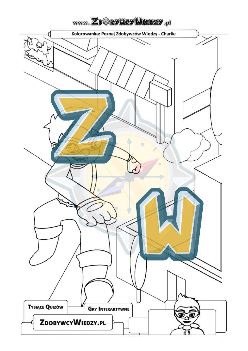 Zdobywcy Wiedzy - karta pracy pdf - Malowanka z superbohaterem umili czas dziecku (strona 1)