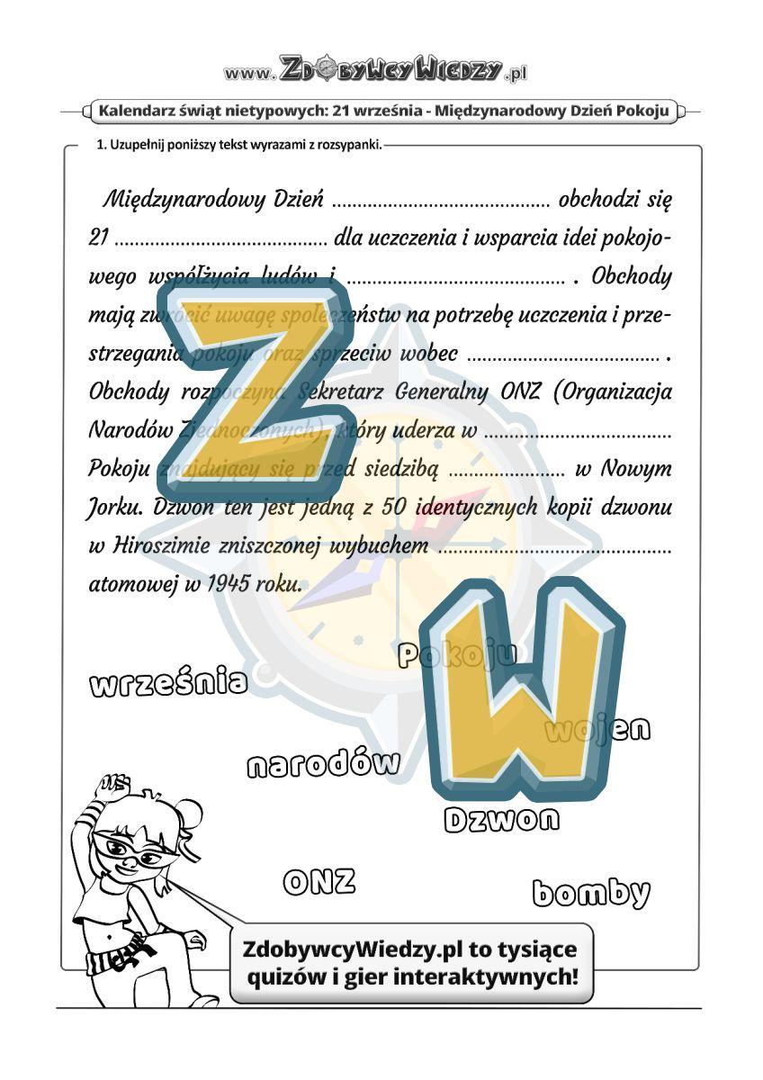 Zdobywcy Wiedzy - karta pracy pdf - Pokój na świecie - zadanie dla wszystkich! (strona 1)