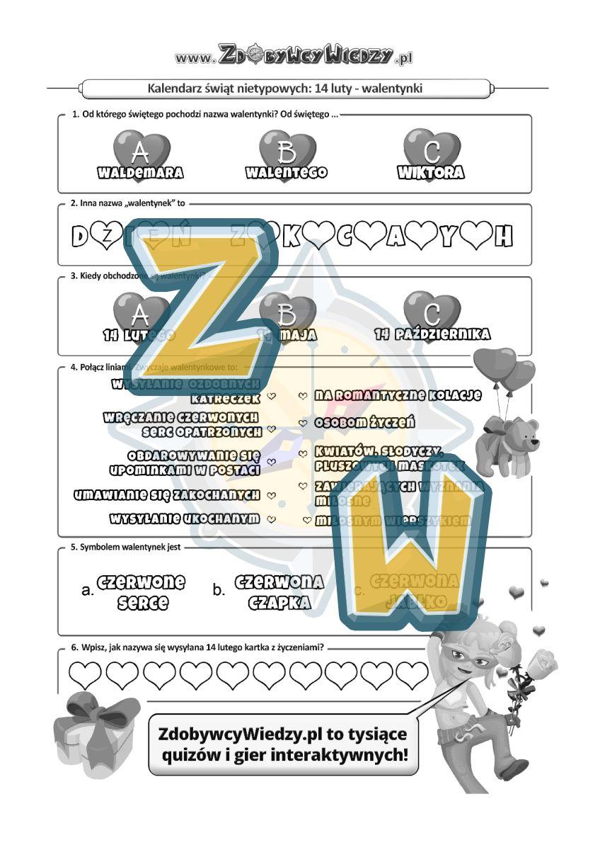 Zdobywcy Wiedzy - karta pracy pdf - Karta pracy od św. Walentego (strona 1)