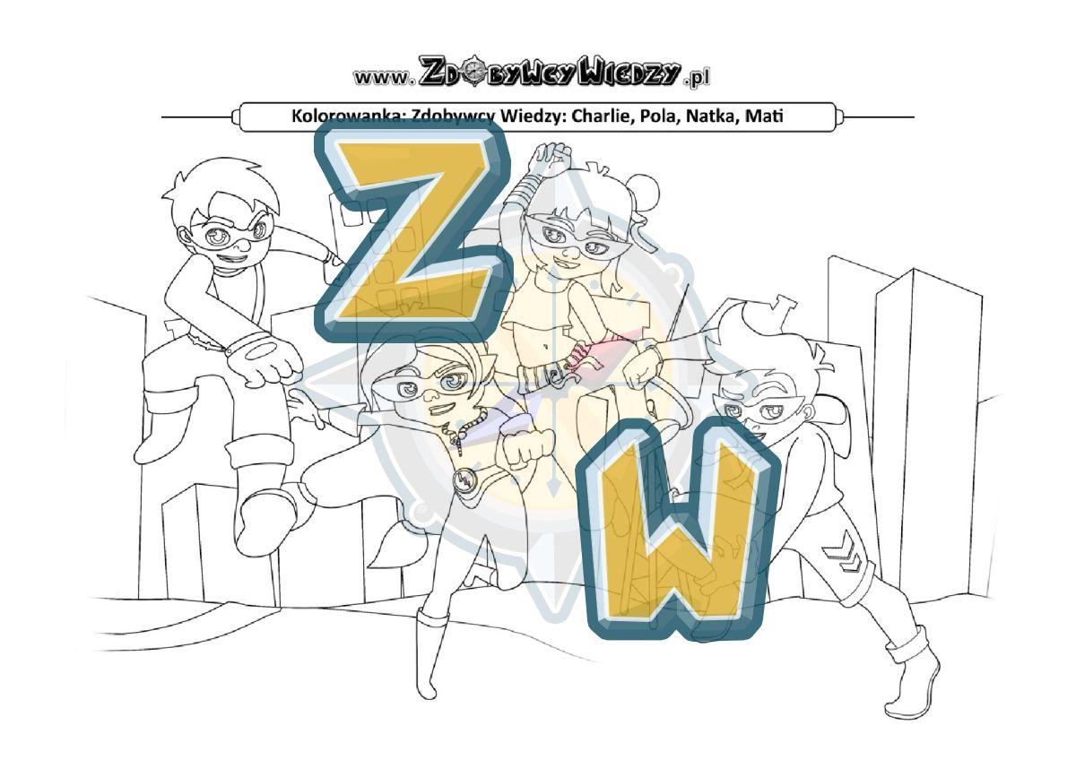 Zdobywcy Wiedzy - karta pracy pdf - Kolorowanka Zdobywcy Wiedzy rozwijają wyobraźnię (strona 1)