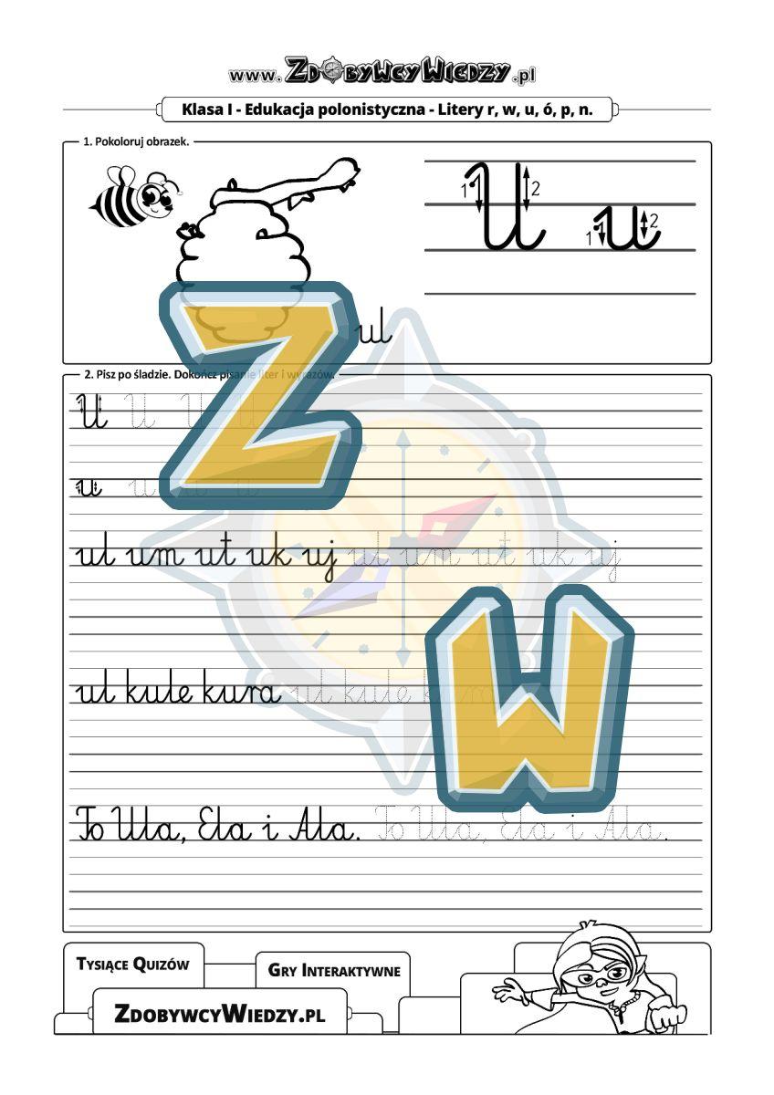 Zdobywcy Wiedzy - karta pracy pdf - Karta pracy do pisania w liniaturze - poznaj literę U (strona 1)