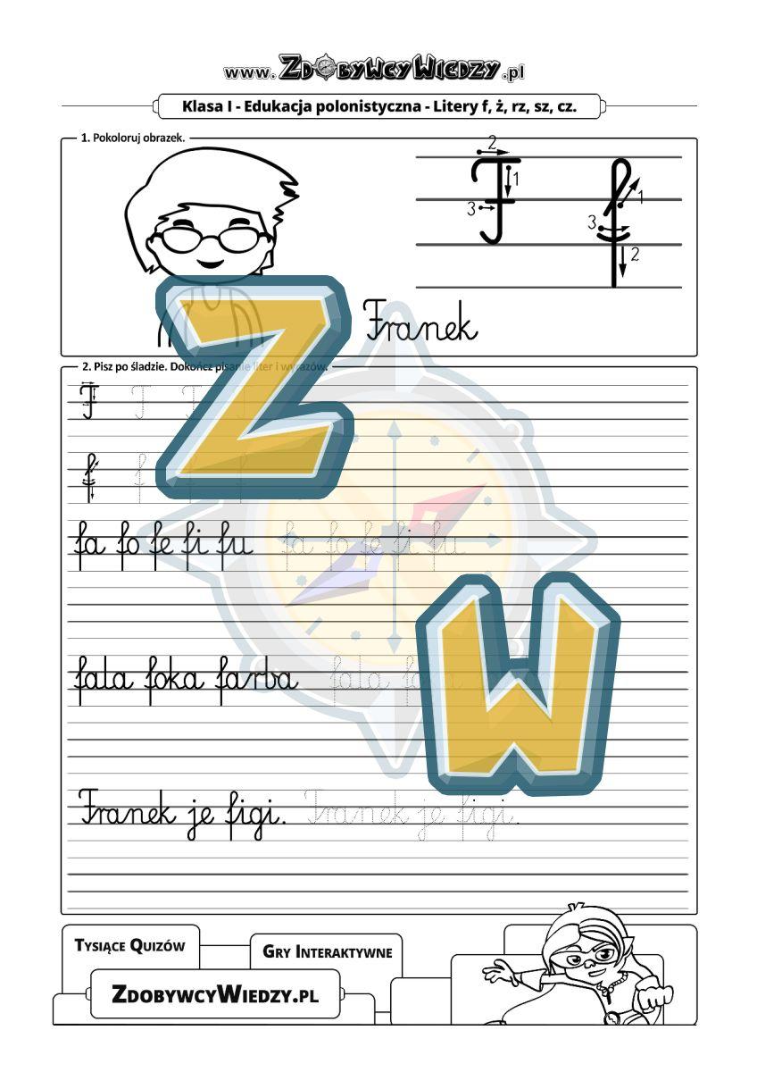 Zdobywcy Wiedzy - karta pracy pdf - Nauka pisania litery F (strona 1)
