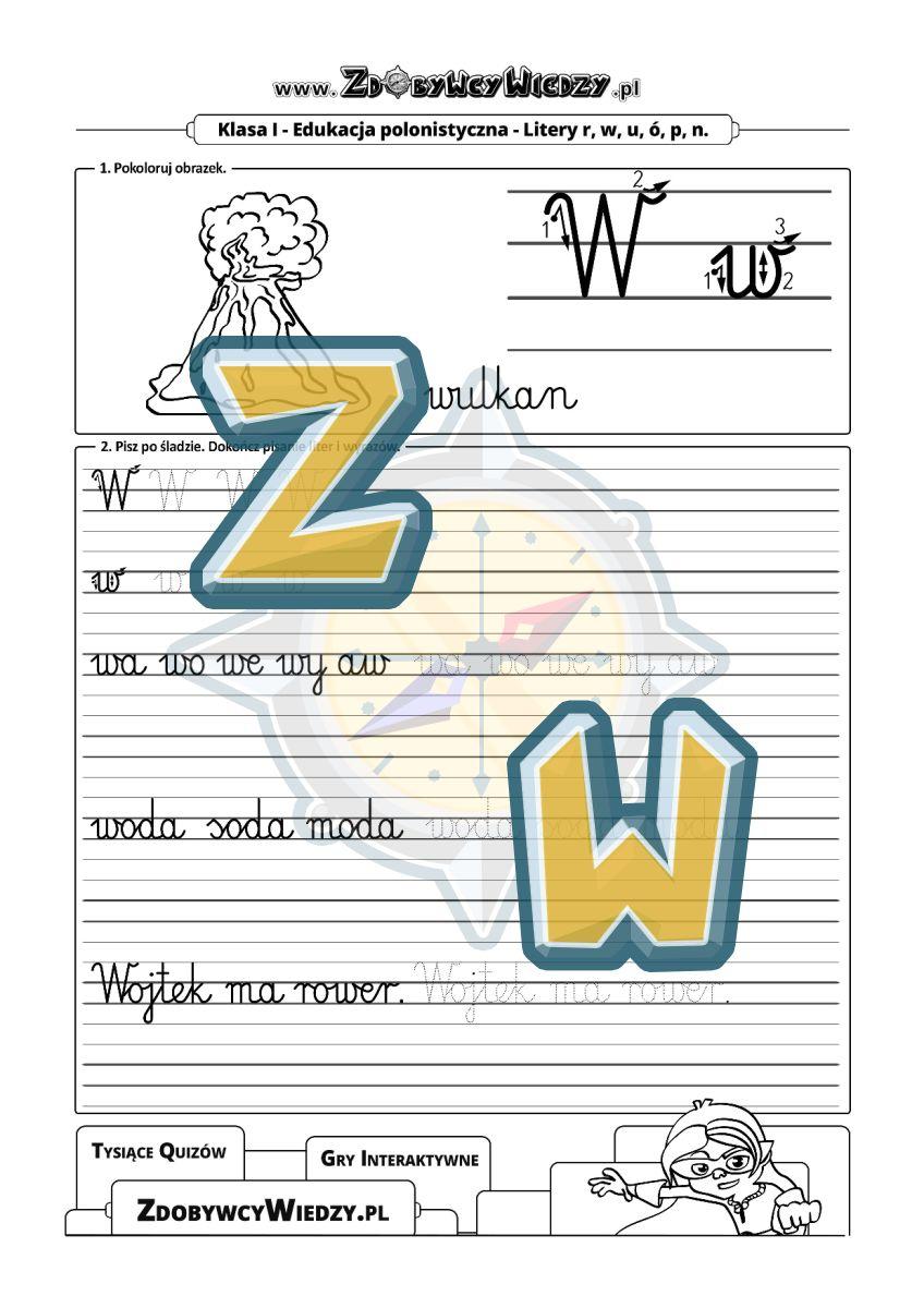 Zdobywcy Wiedzy - karta pracy pdf - Szablon do nauki pisania dla uczniów szkoły podstawowej - litera W (strona 1)