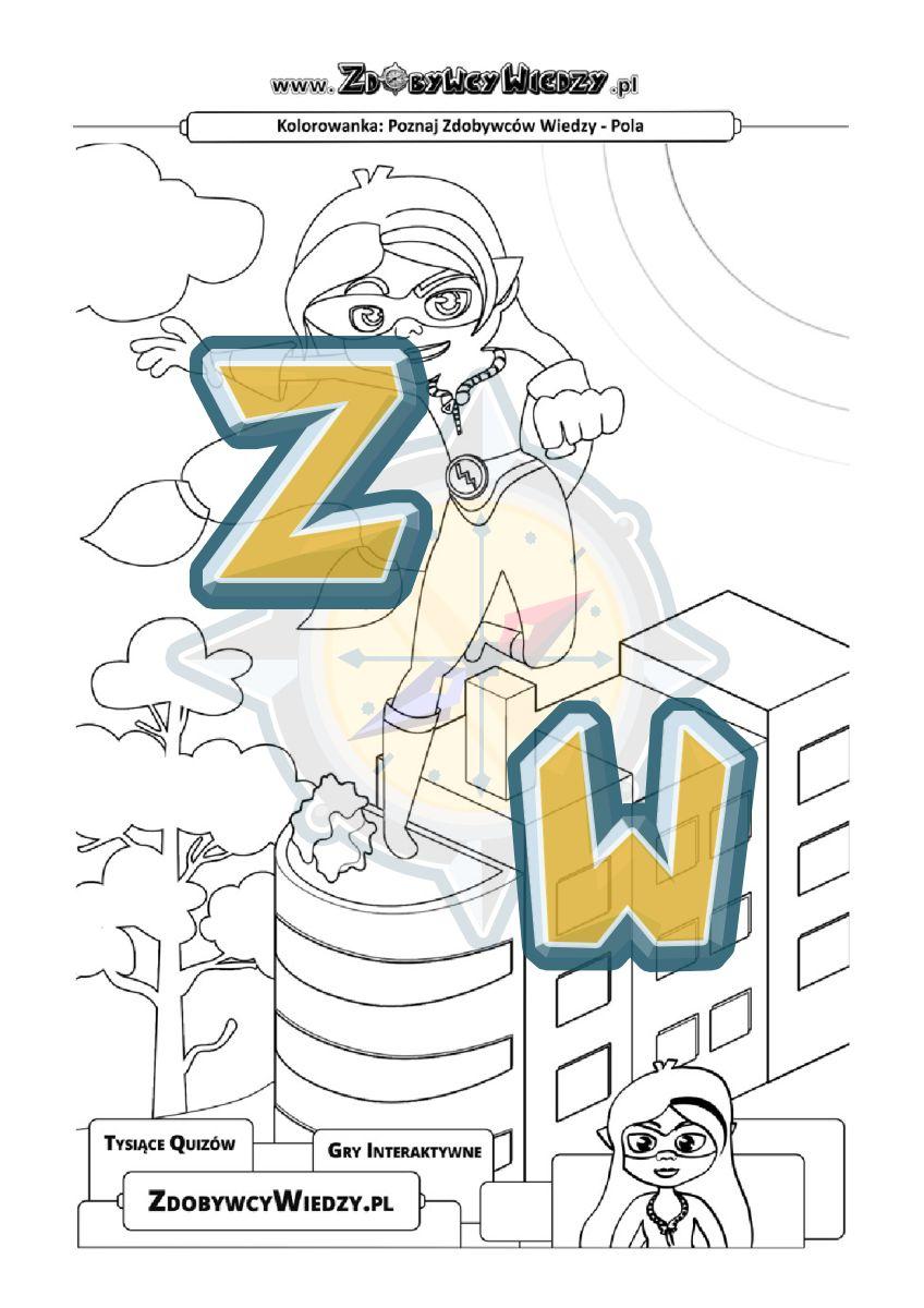 Zdobywcy Wiedzy - karta pracy pdf - Pomaluj superbohaterkę i pokonaj nudę (strona 1)