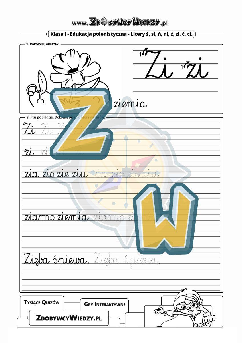 Zdobywcy Wiedzy - karta pracy pdf - Arkusz przeznaczony do nauki liter i głosek - głoska Zi (strona 1)