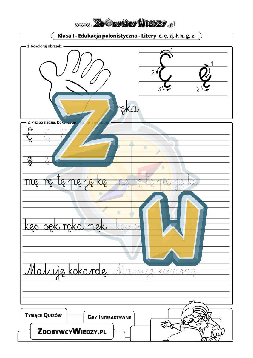 Zdobywcy Wiedzy - karta pracy pdf - Pisanie w liniaturze litery Ę karta pracy (strona 1)