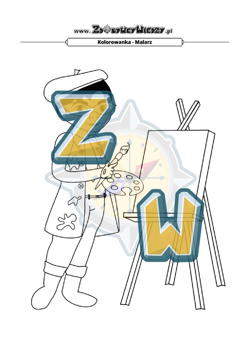 Zdobywcy Wiedzy - karta pracy pdf - Pomaluj obrazek malarza na wybrane przez siebie kolory (strona 1)