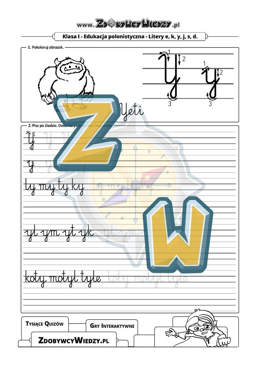 Zdobywcy Wiedzy - karta pracy pdf - Ćwiczenia kaligraficzne dla dzieci wczesnoszkolnych (strona 1)