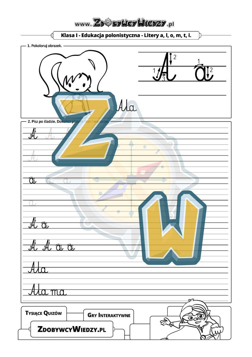 Zdobywcy Wiedzy - karta pracy pdf - PIERWSZE PISANIE litera A - jak starannie pisać? (strona 1)