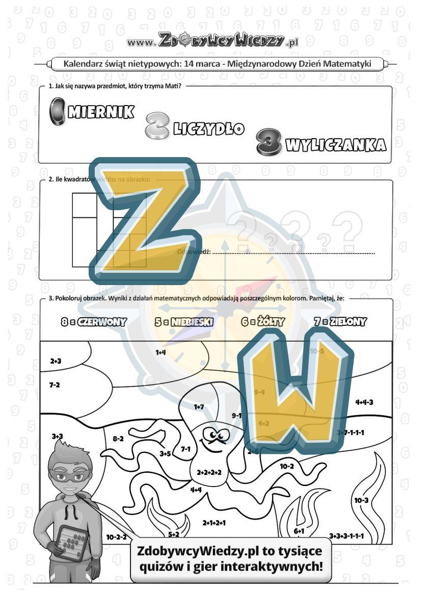 Zdobywcy Wiedzy - karta pracy pdf - Święto królowej nauk - Matematyki (strona 1)