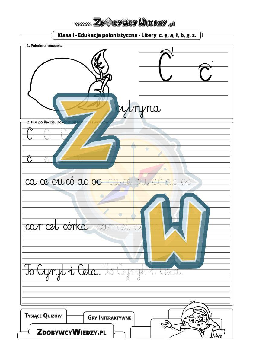 Zdobywcy Wiedzy - karta pracy pdf - Szablon do nauki pisania litery C w liniaturze (strona 1)