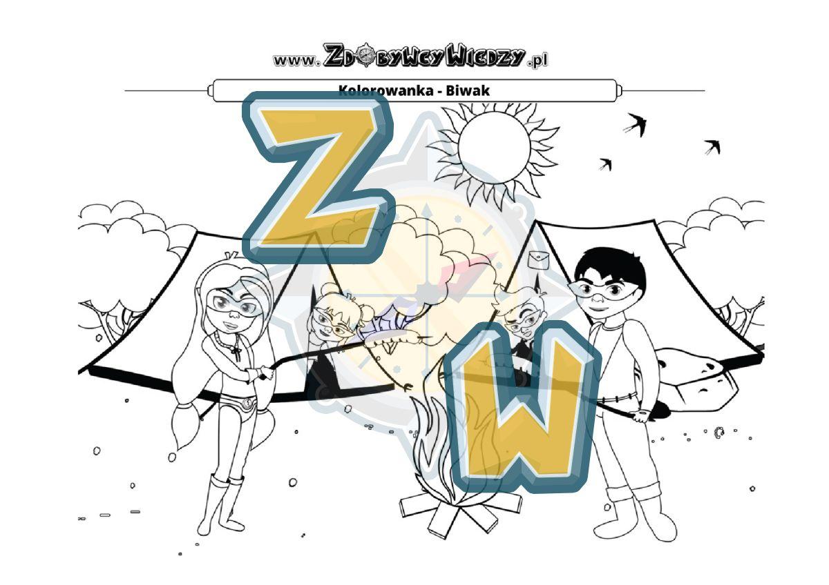 Zdobywcy Wiedzy - karta pracy pdf - Kolorowanka - wspaniała rozrywka dla dziecka (strona 1)