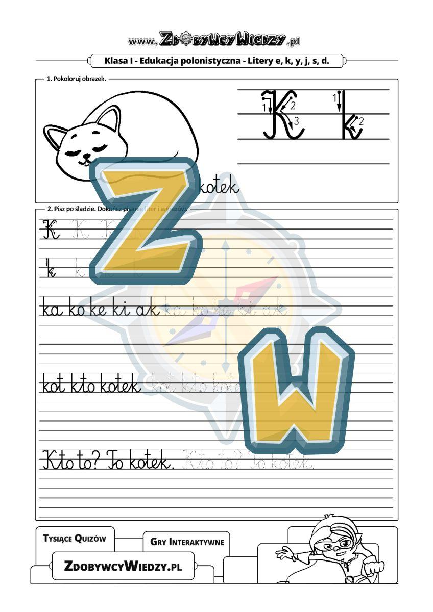 Zdobywcy Wiedzy - karta pracy pdf - Ćwiczenia rozwijające umiejętność pisania litery
