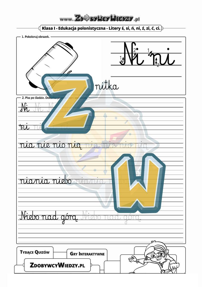 Zdobywcy Wiedzy - karta pracy pdf - Sztuka pisania po śladzie i bez śladu czcionką szkolną (strona 1)