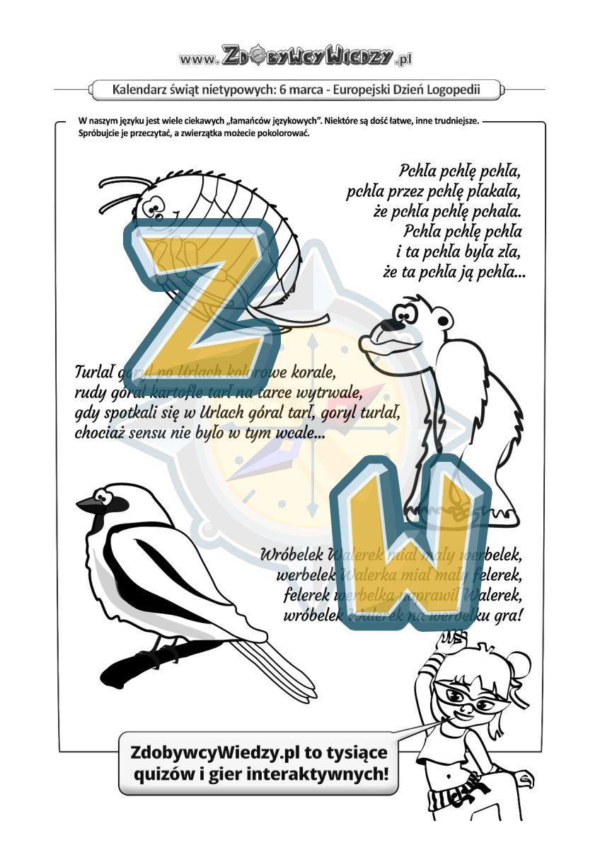 Zdobywcy Wiedzy - karta pracy pdf - Karta pracy - logopedyczne wierszyki (strona 1)