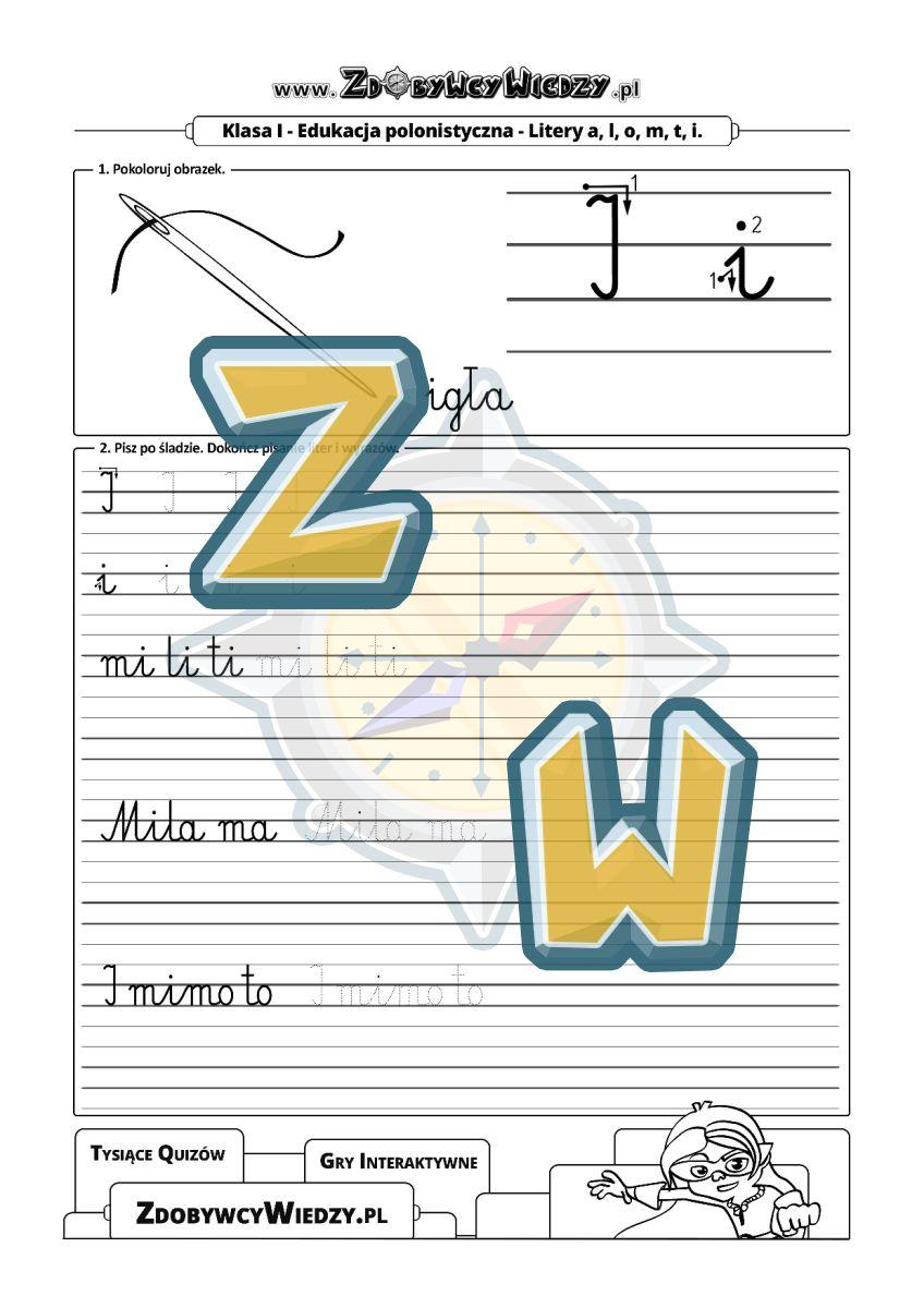 Zdobywcy Wiedzy - karta pracy pdf - Czcionka wczesnoszkolna bez tajemnic (strona 1)