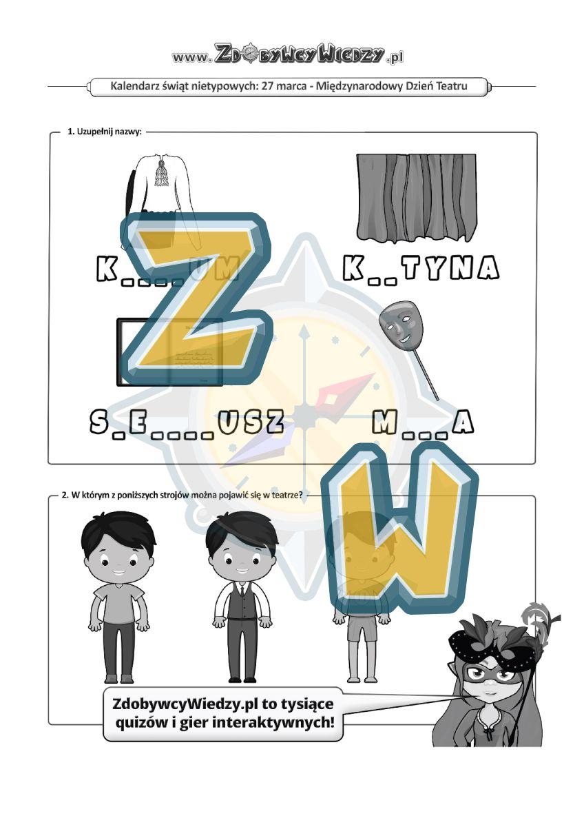 Zdobywcy Wiedzy - karta pracy pdf - Teatralna karta pracy (strona 1)