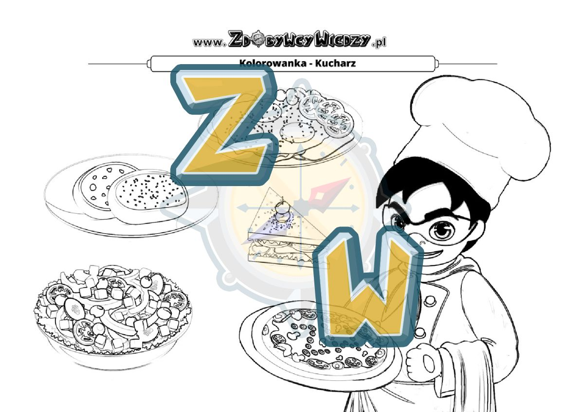 Zdobywcy Wiedzy - karta pracy pdf - Pokoloruj obrazek przedstawiający kucharza (strona 1)
