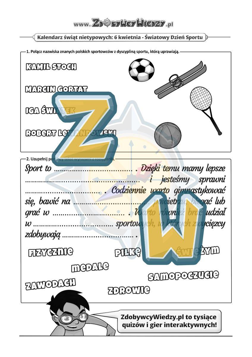 Zdobywcy Wiedzy - karta pracy pdf - Świętuj z nami na sportowo! (strona 1)