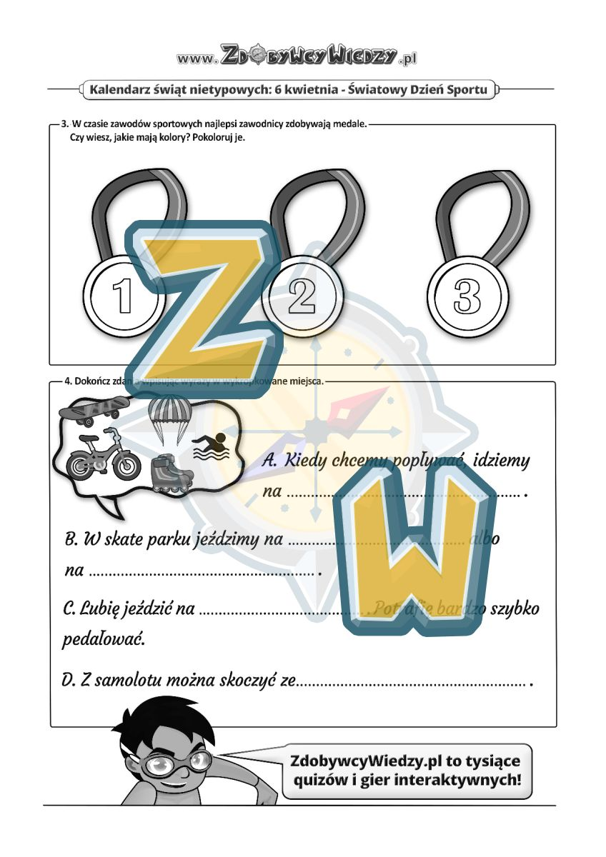 Zdobywcy Wiedzy - karta pracy pdf - Świętuj z nami na sportowo! (strona 2)