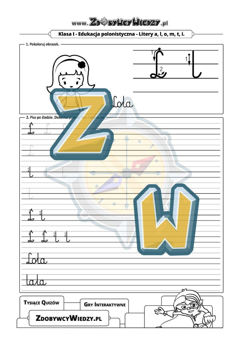 Zdobywcy Wiedzy - karta pracy pdf - Alfabet nauka pisania małej i dużej litery L (strona 1)