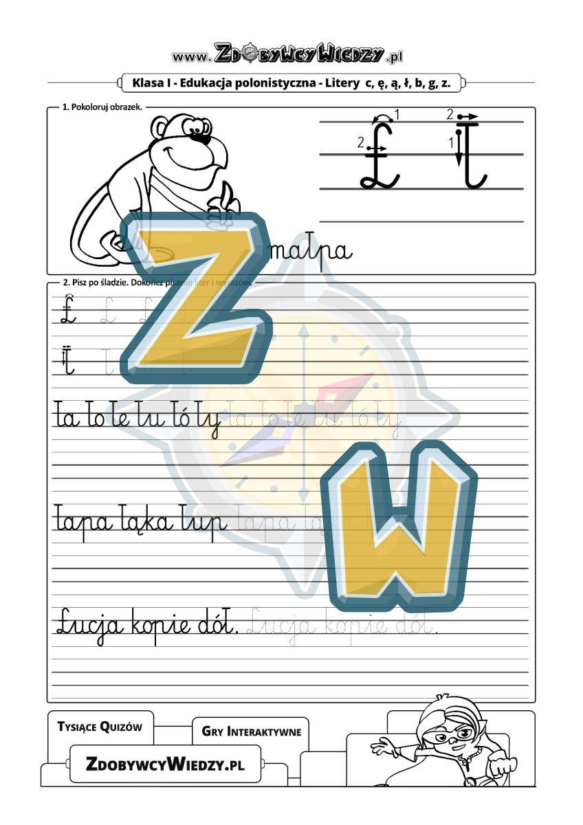 Zdobywcy Wiedzy - karta pracy pdf - Czcionka pismo szkolne - poznajemy literę Ł (strona 1)