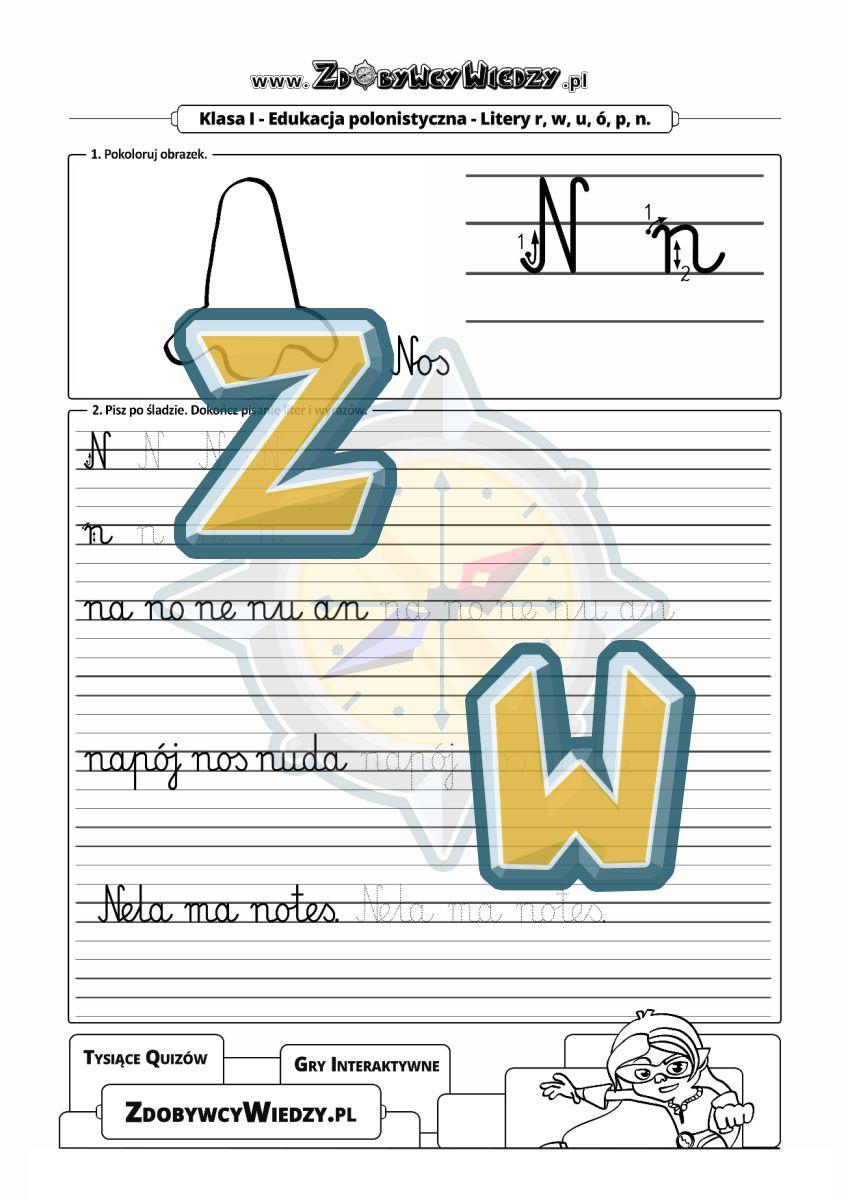 Zdobywcy Wiedzy - karta pracy pdf - Szablon do nauki pisania, który możesz wydrukować (strona 1)