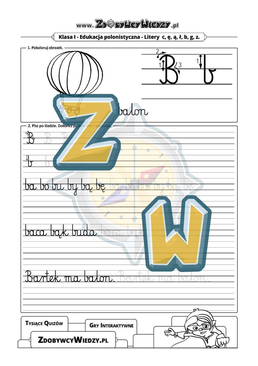 Zdobywcy Wiedzy - karta pracy pdf - Ćwiczenia z kaligrafii do nauki pisania litery B (strona 1)