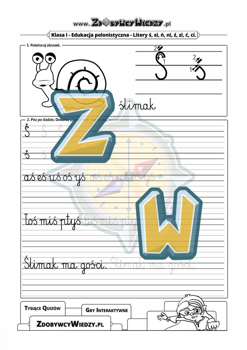 Zdobywcy Wiedzy - karta pracy pdf - Arkusz do nauki pisania litery Ś w liniaturze (strona 1)