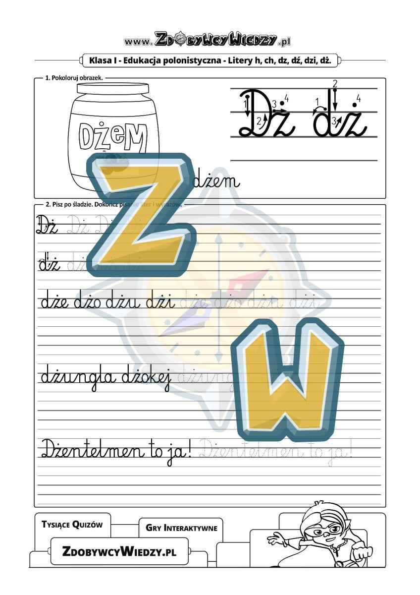 Zdobywcy Wiedzy - karta pracy pdf - Nauka pisania liter - ćwiczenia z prezentację litery i liniaturą (strona 1)