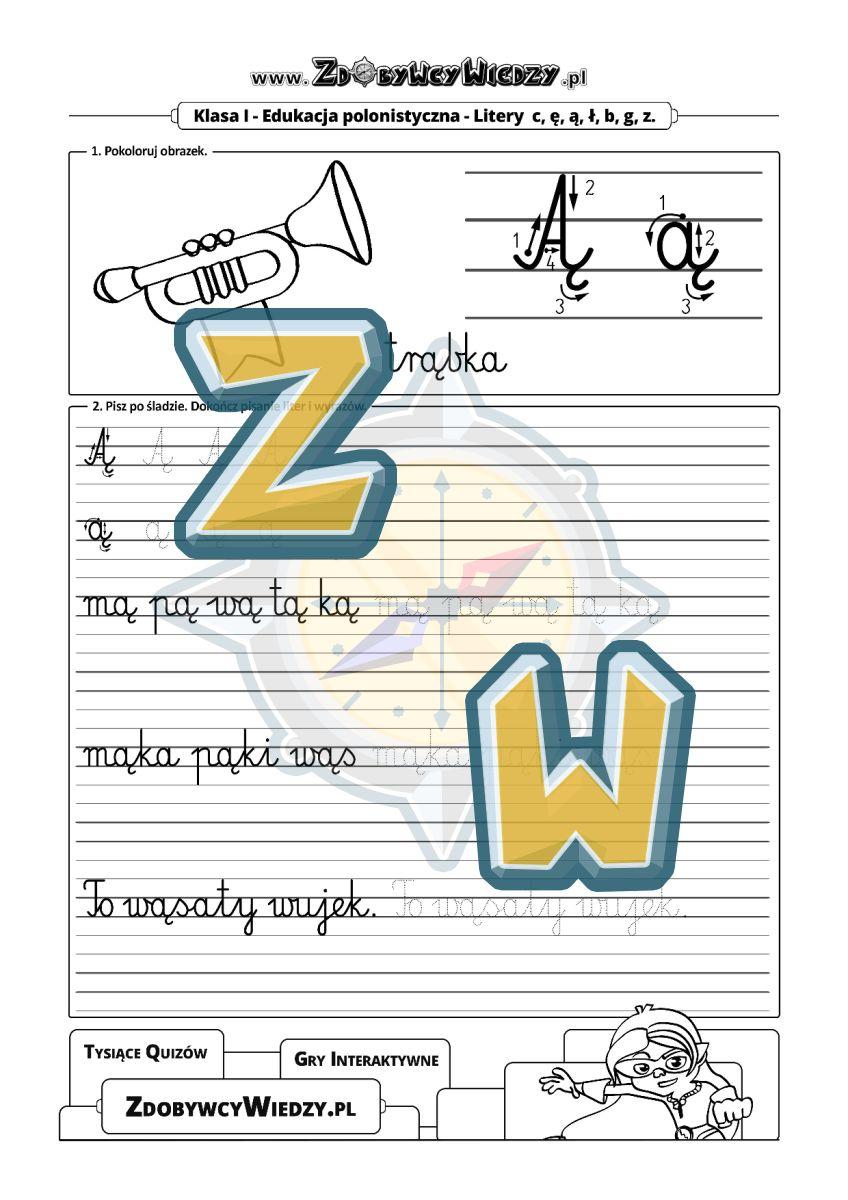 Zdobywcy Wiedzy - karta pracy pdf - Ćwiczenia pisania litery Ą pismo elementarzowe (strona 1)