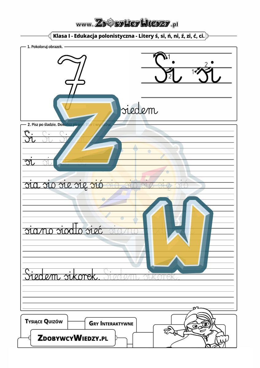 Zdobywcy Wiedzy - karta pracy pdf - Ćwiczenia z literą Si-si pismo ręczne elementarzowe (strona 1)