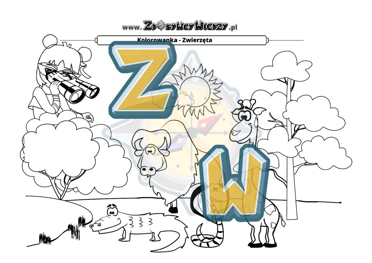 Zdobywcy Wiedzy - karta pracy pdf - Malowanka ze zwierzętami do pokolorowania (strona 1)