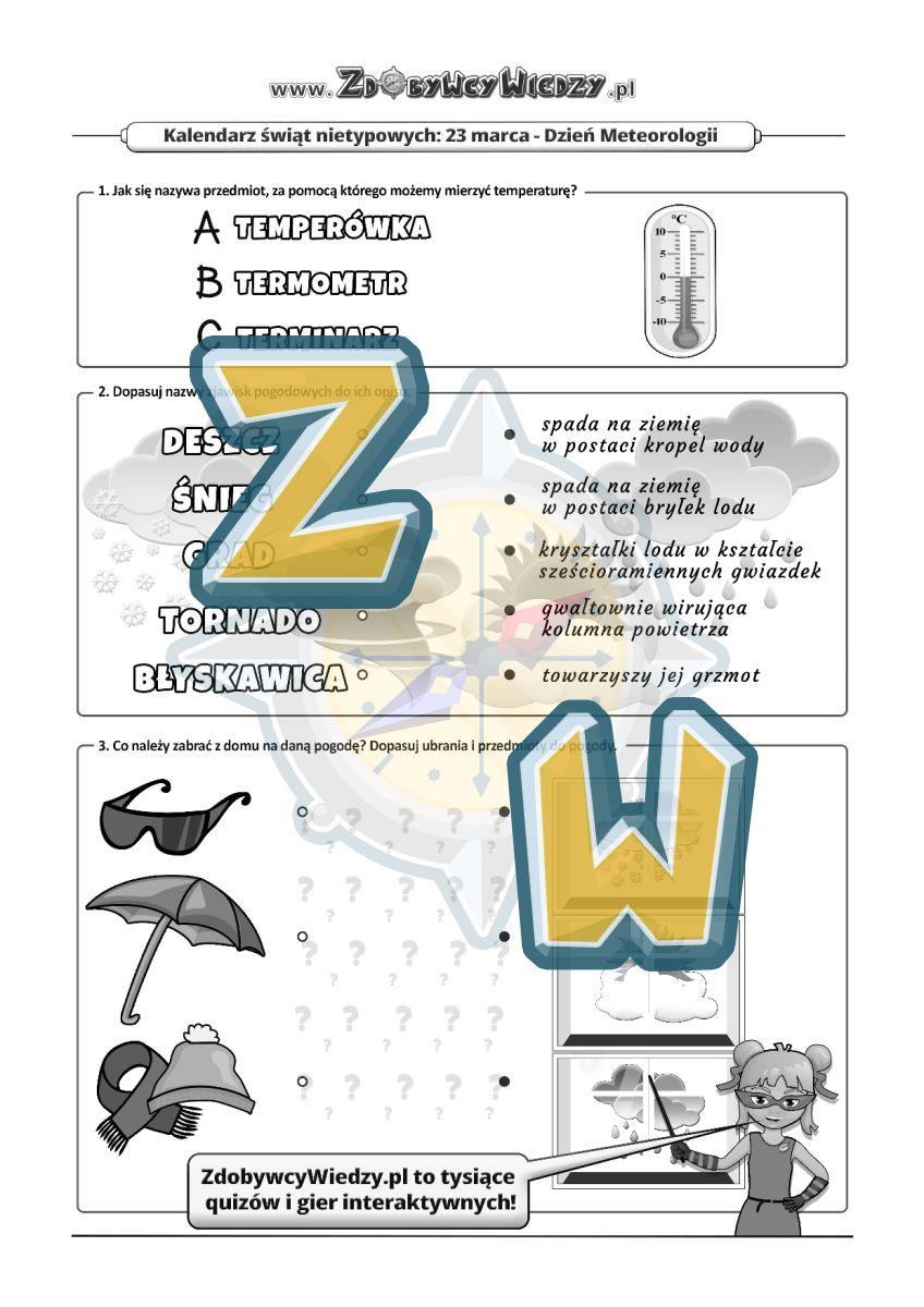 Zdobywcy Wiedzy - karta pracy pdf - Pogodowa karta pracy (strona 1)