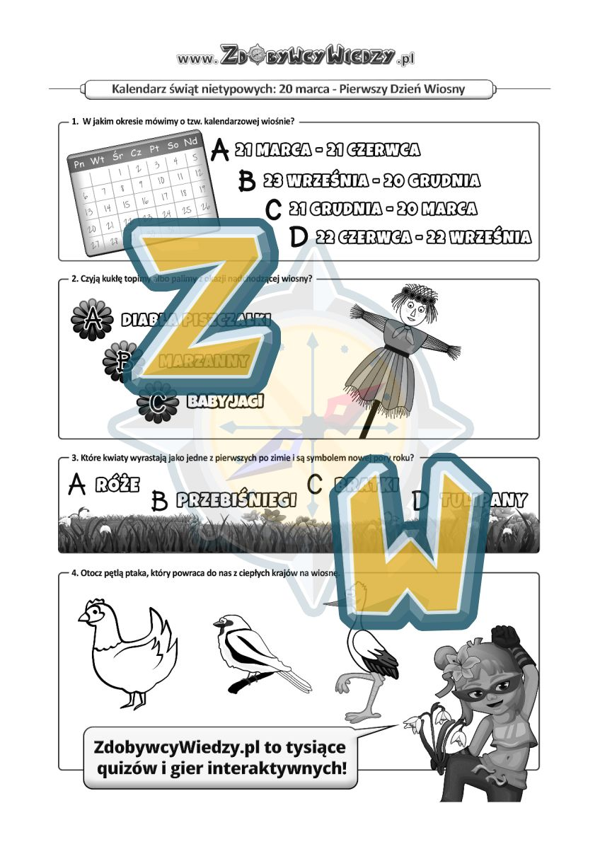 Zdobywcy Wiedzy - karta pracy pdf - Pokochaj pierwszy dzień wiosny! (strona 1)