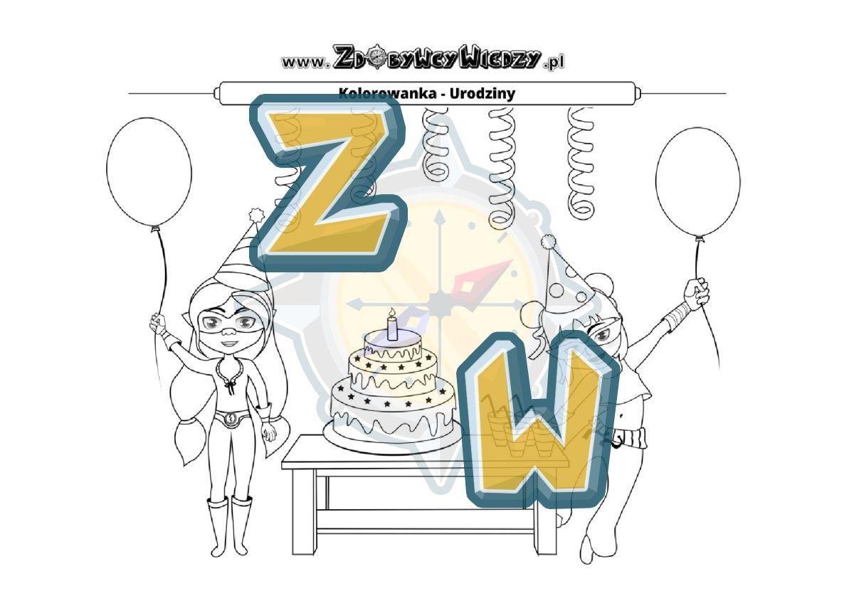 Zdobywcy Wiedzy - karta pracy pdf - Wartościowa i rozwijająca rozrywka z kolorowanką urodziny (strona 1)
